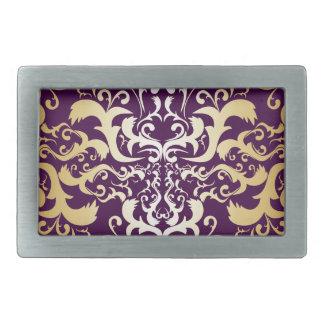 purple,faux,gold,damasks,vintage,antique,floral,pa rectangular belt buckle
