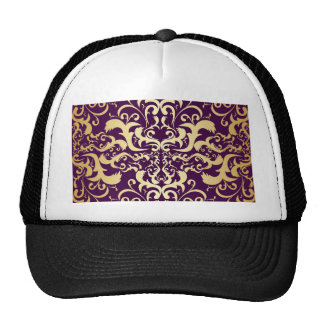 purple,faux,gold,damasks,vintage,antique,floral,pa trucker hat