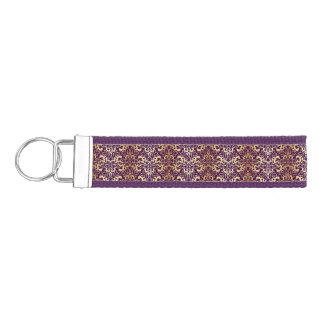 purple,faux,gold,damasks,vintage,antique,floral,pa wrist keychain