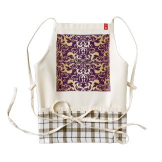 purple,faux,gold,damasks,vintage,antique,floral,pa zazzle HEART apron