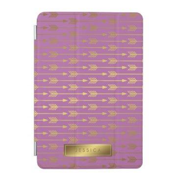 heartlocked Purple Faux Gold Foil Arrows Pattern iPad Mini Cover