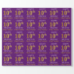 """[ Thumbnail: Purple, Faux Gold """"Happy 10th Birthday"""" Wrapping Paper ]"""