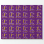 """[ Thumbnail: Purple, Faux Gold """"Happy 11th Birthday"""" Wrapping Paper ]"""