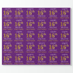 """[ Thumbnail: Purple, Faux Gold """"Happy 16th Birthday"""" Wrapping Paper ]"""