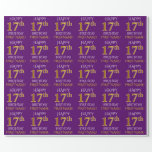 """[ Thumbnail: Purple, Faux Gold """"Happy 17th Birthday"""" Wrapping Paper ]"""