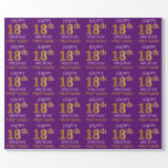 """[ Thumbnail: Purple, Faux Gold """"Happy 18th Birthday"""" Wrapping Paper ]"""