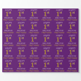"Purple, Faux Gold ""HAPPY 1st BIRTHDAY"" Wrapping Paper"