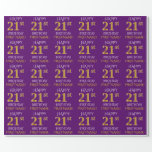 """[ Thumbnail: Purple, Faux Gold """"Happy 21st Birthday"""" Wrapping Paper ]"""