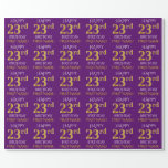 """[ Thumbnail: Purple, Faux Gold """"Happy 23rd Birthday"""" Wrapping Paper ]"""