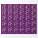 """[ Thumbnail: Purple, Faux Gold """"Happy 24th Birthday"""" Wrapping Paper ]"""