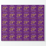 """[ Thumbnail: Purple, Faux Gold """"Happy 29th Birthday"""" Wrapping Paper ]"""