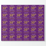 """[ Thumbnail: Purple, Faux Gold """"Happy 30th Birthday"""" Wrapping Paper ]"""