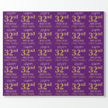 """[ Thumbnail: Purple, Faux Gold """"Happy 32nd Birthday"""" Wrapping Paper ]"""