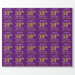 """[ Thumbnail: Purple, Faux Gold """"Happy 38th Birthday"""" Wrapping Paper ]"""