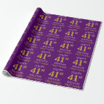 """[ Thumbnail: Purple, Faux Gold """"Happy 41st Birthday"""" Wrapping Paper ]"""