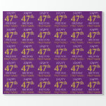 """[ Thumbnail: Purple, Faux Gold """"Happy 47th Birthday"""" Wrapping Paper ]"""