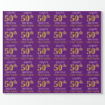 """[ Thumbnail: Purple, Faux Gold """"Happy 50th Birthday"""" Wrapping Paper ]"""