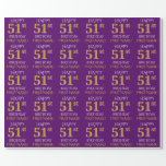 """[ Thumbnail: Purple, Faux Gold """"Happy 51st Birthday"""" Wrapping Paper ]"""