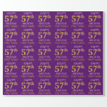 """[ Thumbnail: Purple, Faux Gold """"Happy 57th Birthday"""" Wrapping Paper ]"""