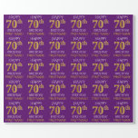 """[ Thumbnail: Purple, Faux Gold """"Happy 70th Birthday"""" Wrapping Paper ]"""