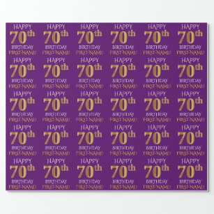 Purple Faux Gold HAPPY 70th BIRTHDAY Wrapping Paper