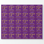"""[ Thumbnail: Purple, Faux Gold """"Happy 72nd Birthday"""" Wrapping Paper ]"""