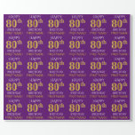 """[ Thumbnail: Purple, Faux Gold """"Happy 80th Birthday"""" Wrapping Paper ]"""