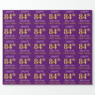 "Purple, Faux Gold ""HAPPY 84th BIRTHDAY"" Wrapping Paper"