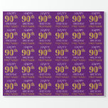 """[ Thumbnail: Purple, Faux Gold """"Happy 90th Birthday"""" Wrapping Paper ]"""