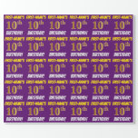 """[ Thumbnail: Purple, Faux/Imitation Gold, """"10th Birthday"""" Wrapping Paper ]"""