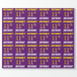 """[ Thumbnail: Purple, Faux/Imitation Gold, """"11th Birthday"""" Wrapping Paper ]"""