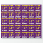 """[ Thumbnail: Purple, Faux/Imitation Gold, """"14th Birthday"""" Wrapping Paper ]"""