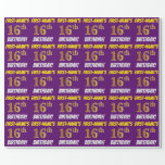 """[ Thumbnail: Purple, Faux/Imitation Gold, """"16th Birthday"""" Wrapping Paper ]"""
