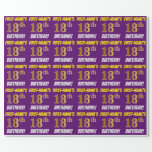 """[ Thumbnail: Purple, Faux/Imitation Gold, """"18th Birthday"""" Wrapping Paper ]"""