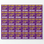 """[ Thumbnail: Purple, Faux/Imitation Gold, """"20th Birthday"""" Wrapping Paper ]"""