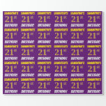 """[ Thumbnail: Purple, Faux/Imitation Gold, """"21st Birthday"""" Wrapping Paper ]"""