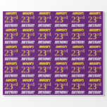 """[ Thumbnail: Purple, Faux/Imitation Gold, """"23rd Birthday"""" Wrapping Paper ]"""