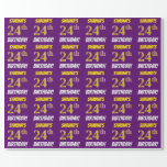 """[ Thumbnail: Purple, Faux/Imitation Gold, """"24th Birthday"""" Wrapping Paper ]"""