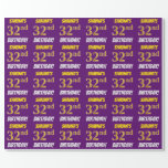 """[ Thumbnail: Purple, Faux/Imitation Gold, """"32nd Birthday"""" Wrapping Paper ]"""