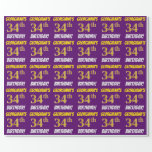 """[ Thumbnail: Purple, Faux/Imitation Gold, """"34th Birthday"""" Wrapping Paper ]"""