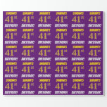 """[ Thumbnail: Purple, Faux/Imitation Gold, """"41st Birthday"""" Wrapping Paper ]"""