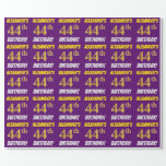 """[ Thumbnail: Purple, Faux/Imitation Gold, """"44th Birthday"""" Wrapping Paper ]"""