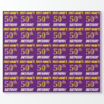 """[ Thumbnail: Purple, Faux/Imitation Gold, """"50th Birthday"""" Wrapping Paper ]"""