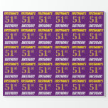 """[ Thumbnail: Purple, Faux/Imitation Gold, """"51st Birthday"""" Wrapping Paper ]"""