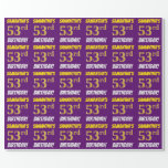 """[ Thumbnail: Purple, Faux/Imitation Gold, """"53rd Birthday"""" Wrapping Paper ]"""