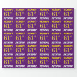 """[ Thumbnail: Purple, Faux/Imitation Gold, """"61st Birthday"""" Wrapping Paper ]"""