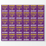 """[ Thumbnail: Purple, Faux/Imitation Gold, """"70th Birthday"""" Wrapping Paper ]"""
