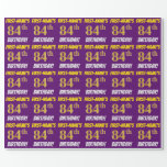 """[ Thumbnail: Purple, Faux/Imitation Gold, """"84th Birthday"""" Wrapping Paper ]"""