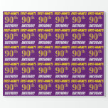 """[ Thumbnail: Purple, Faux/Imitation Gold, """"90th Birthday"""" Wrapping Paper ]"""