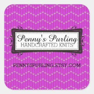 Purple faux knitted sweater zigzag pattern square sticker